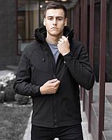 Куртка мужская весенняя с капюшоном Pobedov Soft Shell черная
