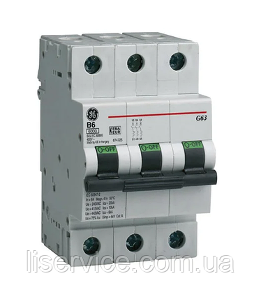 Автоматичний вимикач General Electric G63 C63 6kA 3р, фото 2