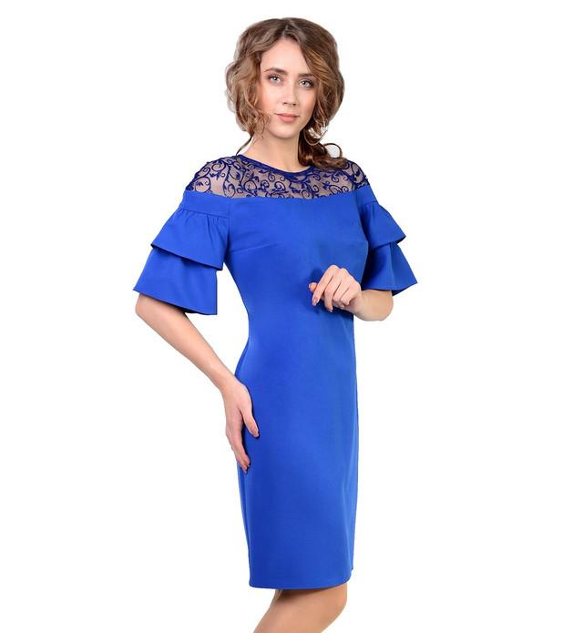фотография красивое женское платье ярко-синего цвета