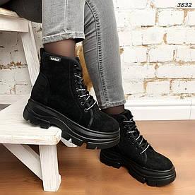Высокие ботинки женские черные эко-замша:)
