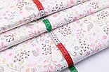 """Лоскут сатина """"Фламинго и птенчики на лужайке"""" пудровые на белом №2501с, фото 3"""