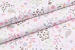 """Лоскут сатина """"Фламинго и птенчики на лужайке"""" пудровые на белом №2501с, фото 5"""