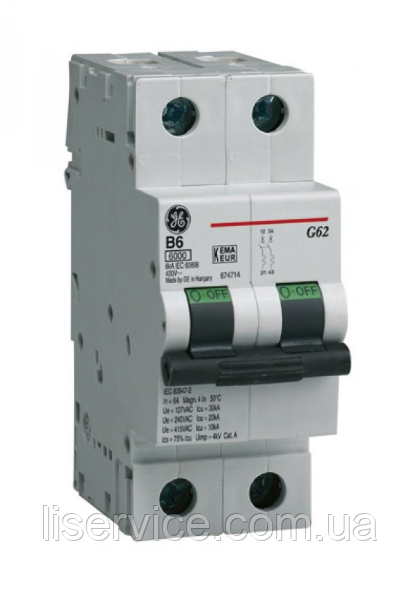 Автоматичний вимикач General Electric G62 C25 6kA 2р