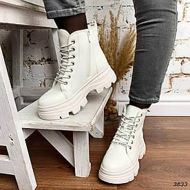 Высокие ботинки женские белые эко-кожа:)В НАЛИЧИИ ТОЛЬКО 39 40 41р