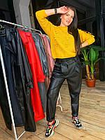 Женские зауженные кожаные штаны на средней посадке 5812433, фото 1