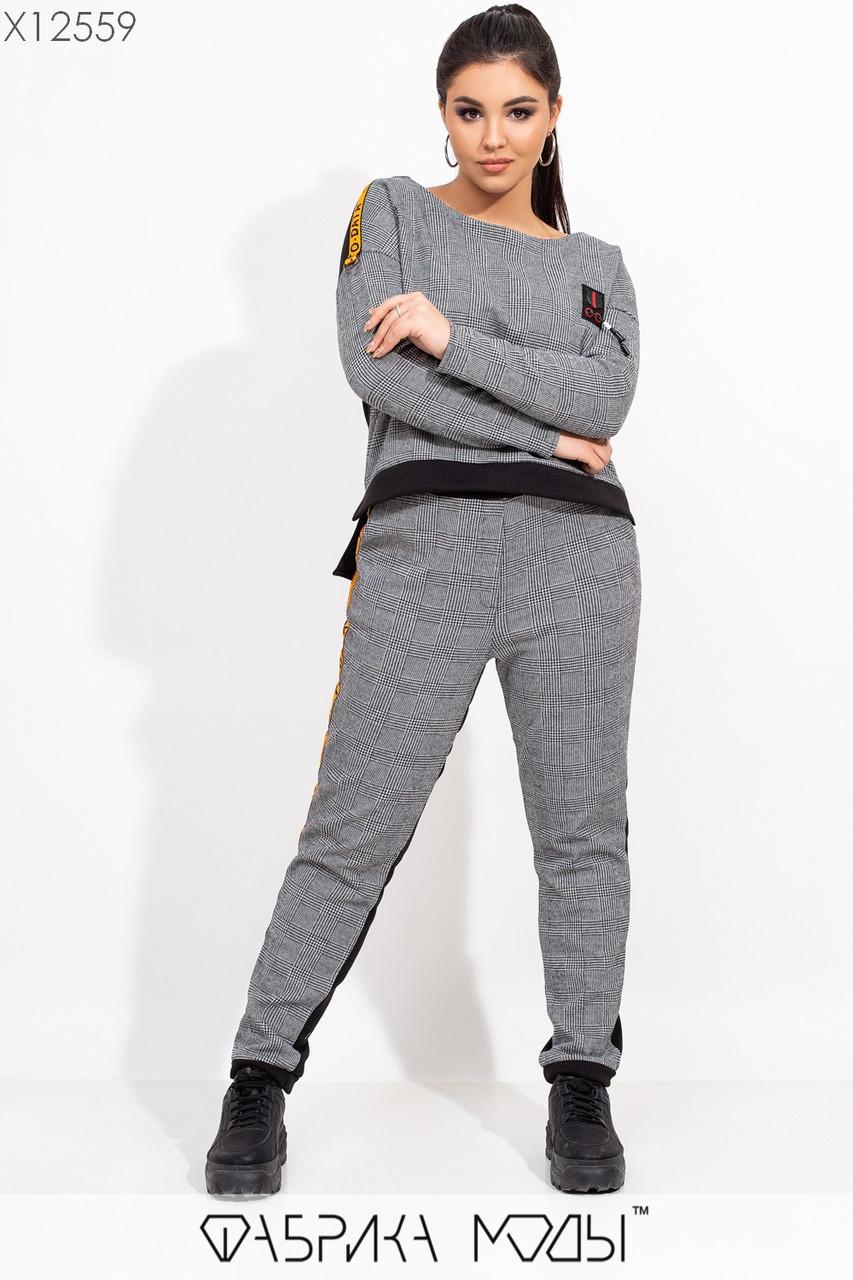 Жаккардовый принтованный брючный костюм в больших размерах с асимметричной кофтой 115496