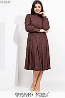 Жаккардовое принтованное платье в больших размерах с расклешенной юбкой миди и рукавами фонариками 115500, фото 1