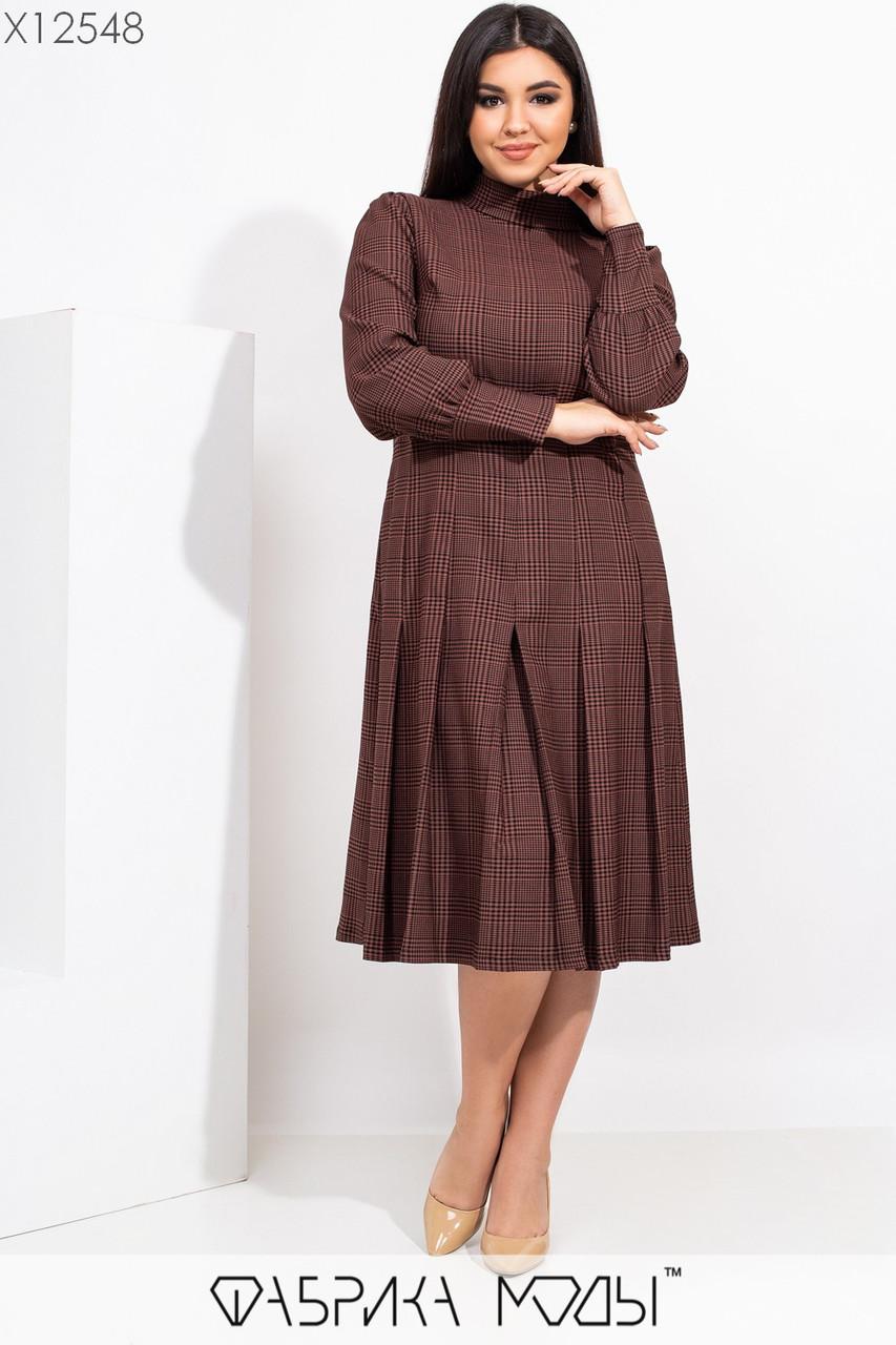 Жаккардовое принтованное платье в больших размерах с расклешенной юбкой миди и рукавами фонариками 115500