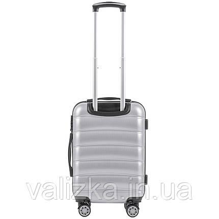 Малый чемодан из поликарбоната премиум серии для ручной клади на 4-х двойных колесах светло серебряный, фото 2