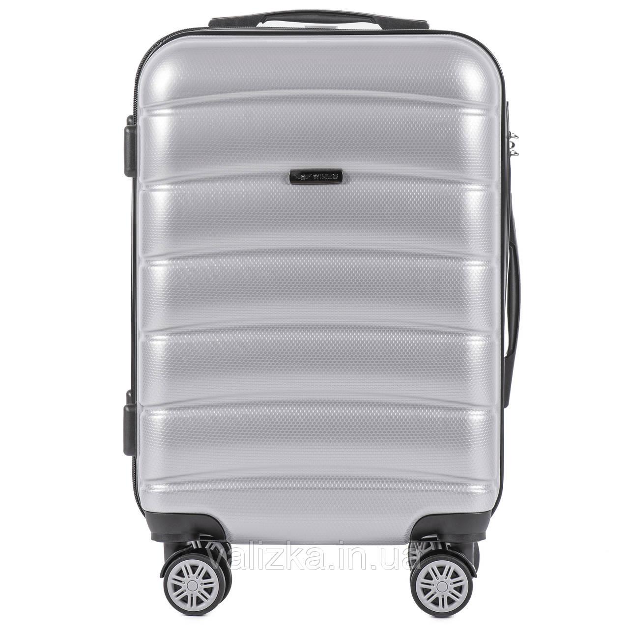 Малый чемодан из поликарбоната премиум серии для ручной клади на 4-х двойных колесах светло серебряный