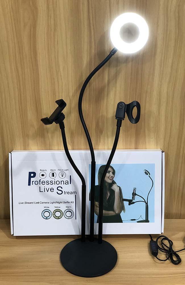 Набор блогера 3в1:гибкий штатив с Led кольцом+держатели для тел. и микрофона