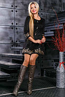 Платье из эко замши черное
