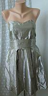 Платье модное нарядное лен блеск мини бренд River Island р.42