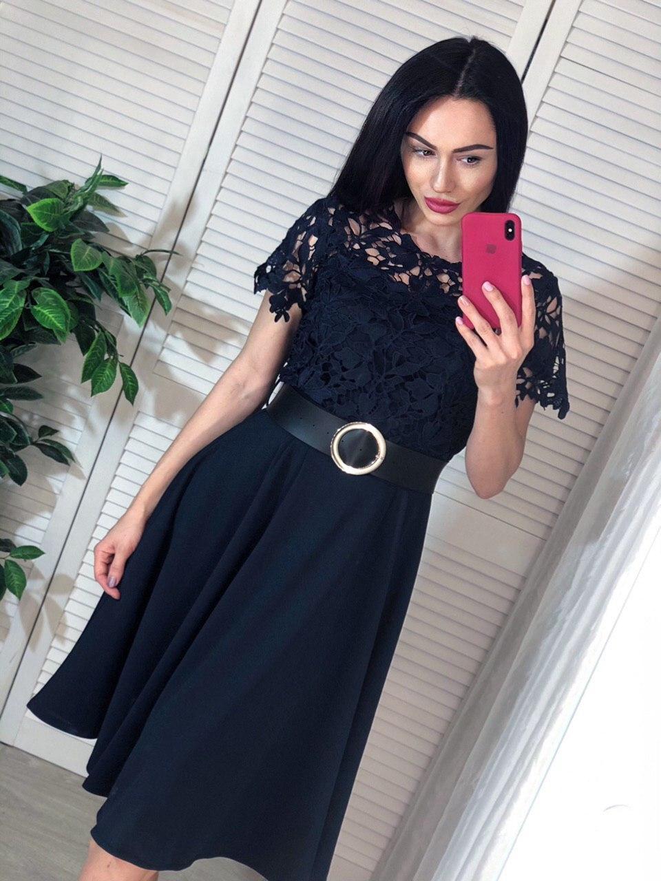 Платье с расклешенной юбкой миди и кружевным верхом с коротким рукавом vN6684