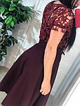 Платье с расклешенной юбкой миди и кружевным верхом с коротким рукавом vN6684, фото 3
