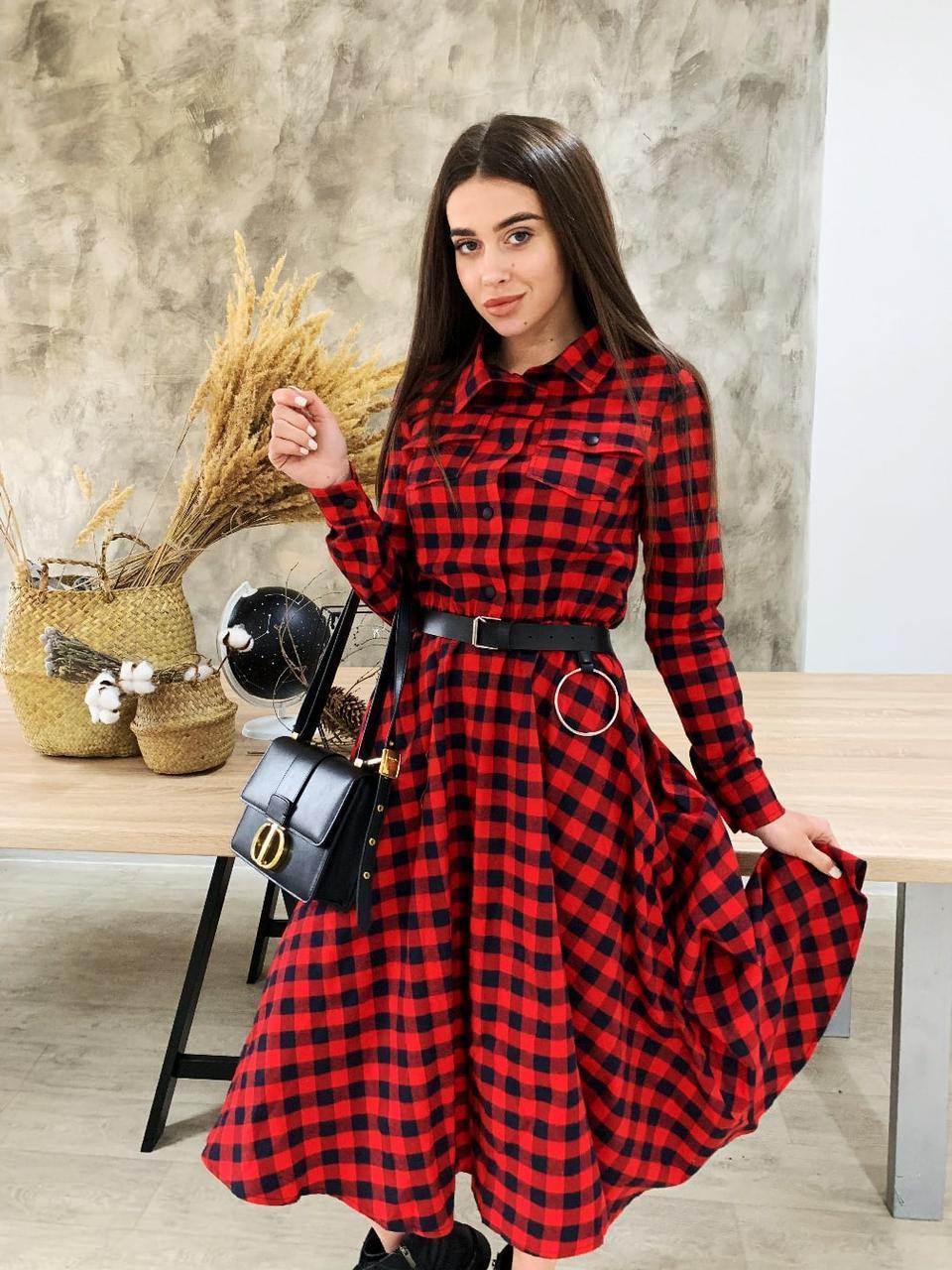 Платье рубашка из фланеля в черно-красную клетку с расклешенной юбкой миди vN6694