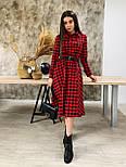 Платье рубашка из фланеля в черно-красную клетку с расклешенной юбкой миди vN6694, фото 2