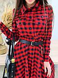 Платье рубашка из фланеля в черно-красную клетку с расклешенной юбкой миди vN6694, фото 3