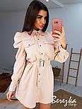 Платье - рубашка на кнопках с длинным рукавом и объемными плечиками в оборках vN6700, фото 3