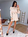 Платье - рубашка на кнопках с длинным рукавом и объемными плечиками в оборках vN6700, фото 4