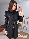 Платье - рубашка на кнопках с длинным рукавом и объемными плечиками в оборках vN6700, фото 6
