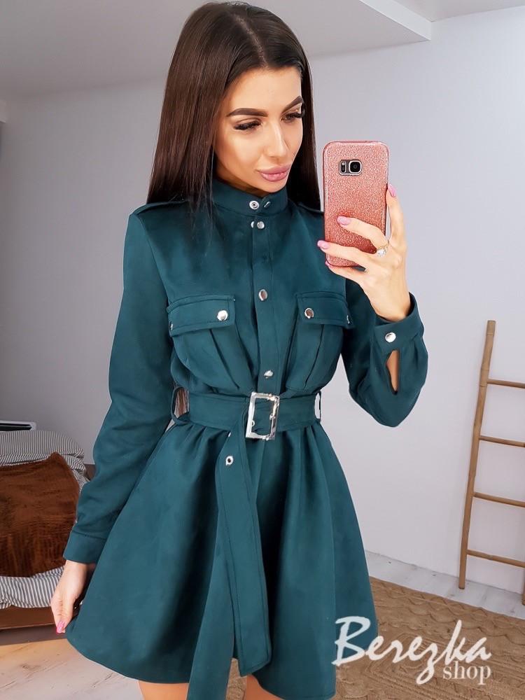 Замшевое платье рубашка с расклешенной юбкой и длинным рукавом, на талии пояс vN6702