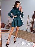 Замшевое платье рубашка с расклешенной юбкой и длинным рукавом, на талии пояс vN6702, фото 2