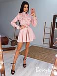 Замшевое платье рубашка с расклешенной юбкой и длинным рукавом, на талии пояс vN6702, фото 3