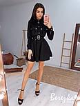 Замшевое платье рубашка с расклешенной юбкой и длинным рукавом, на талии пояс vN6702, фото 6
