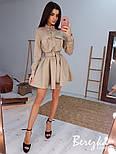 Замшевое платье рубашка с расклешенной юбкой и длинным рукавом, на талии пояс vN6702, фото 9