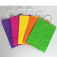Бумажные подарочные пакеты 260х150х350 цветные с ручкой.