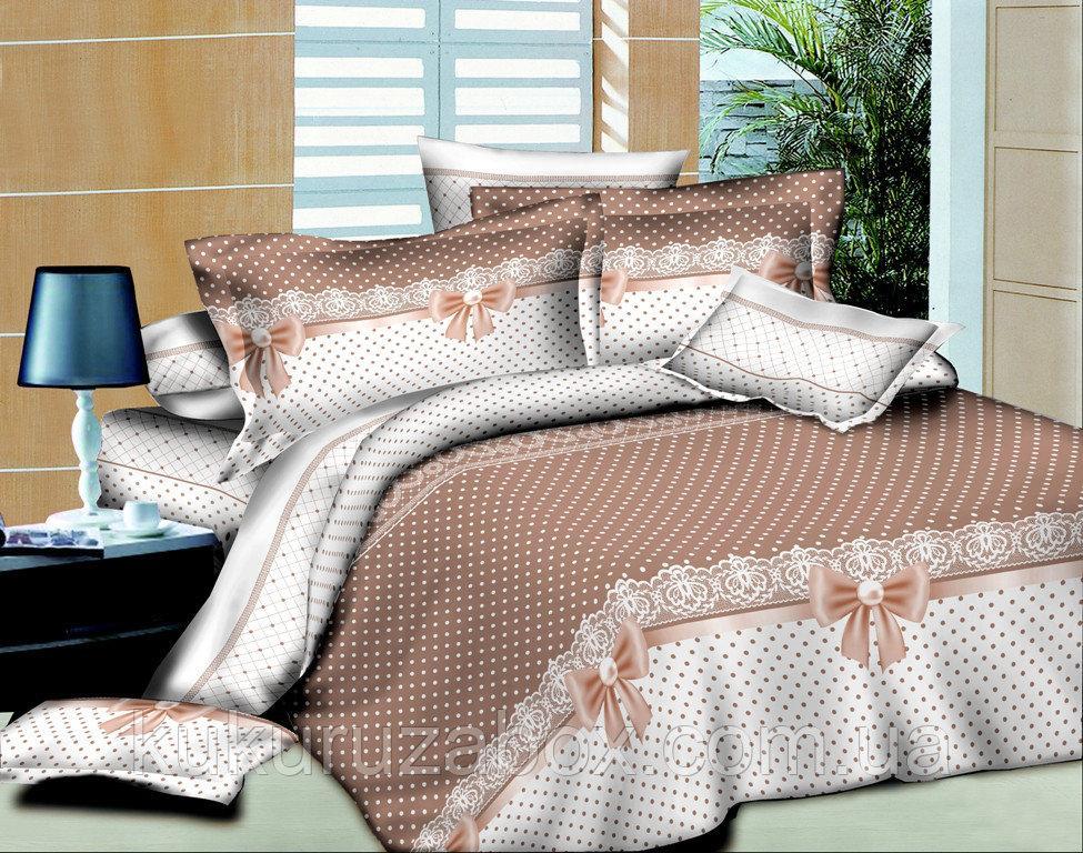 Полуторный комплект постельного белья Бантики из ранфорса