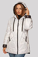 Модная лакированная демисезонная куртка Диана большого размера 48-62 белая