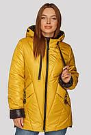 Модная лакированная демисезонная куртка Диана большого размера 48-62 горчичная