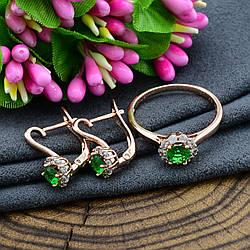 Набор Xuping 90514 кольцо 18 р + серьги 16х7 мм зеленые фианиты позолота РО