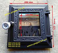 Дверка печная чугунная с огнеупорным стеклом 250х270мм. грубу, барбекю, мангал, фото 1