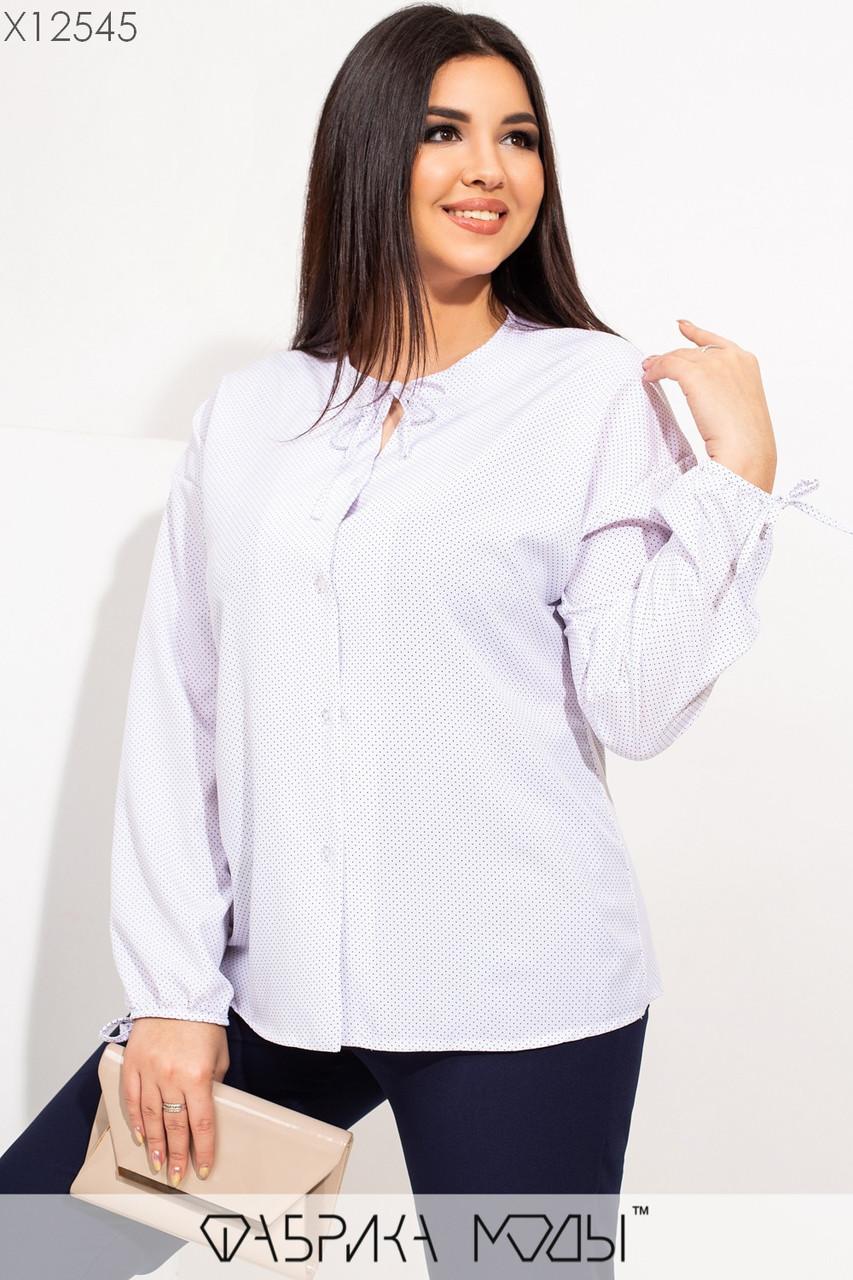 Женская рубашка из софта в больших размерах прямого кроя 115501