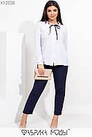 Женская рубашка в горошек в больших размерах из софта 115502, фото 1