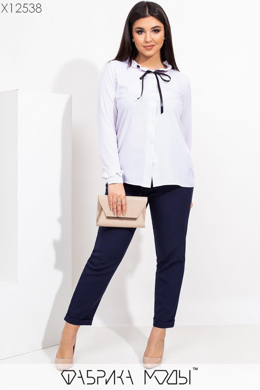 Женская рубашка в горошек в больших размерах из софта 115502