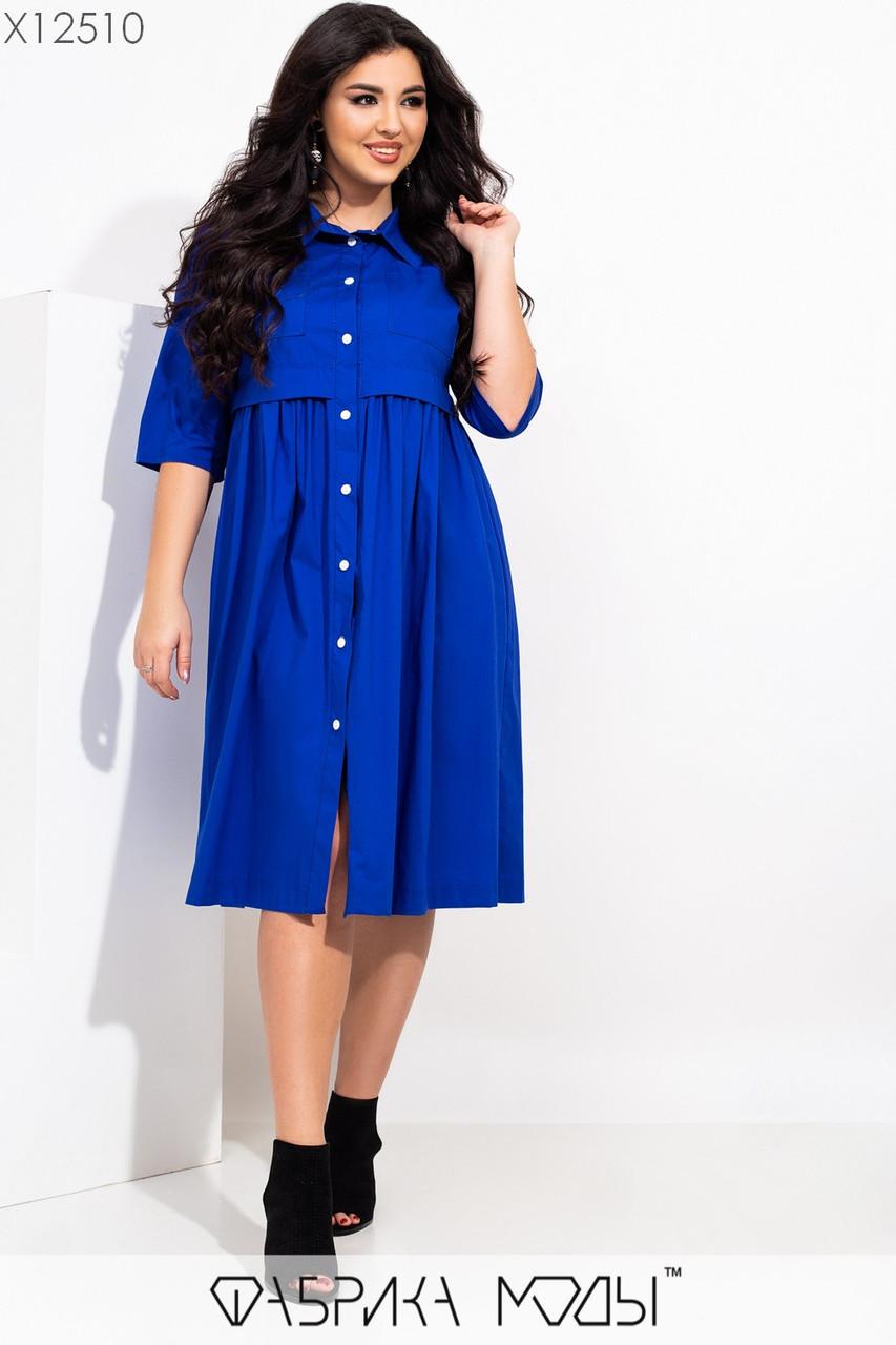 Платье рубашка большого размера с завышенной талией и пуговицами по всей длине 115510