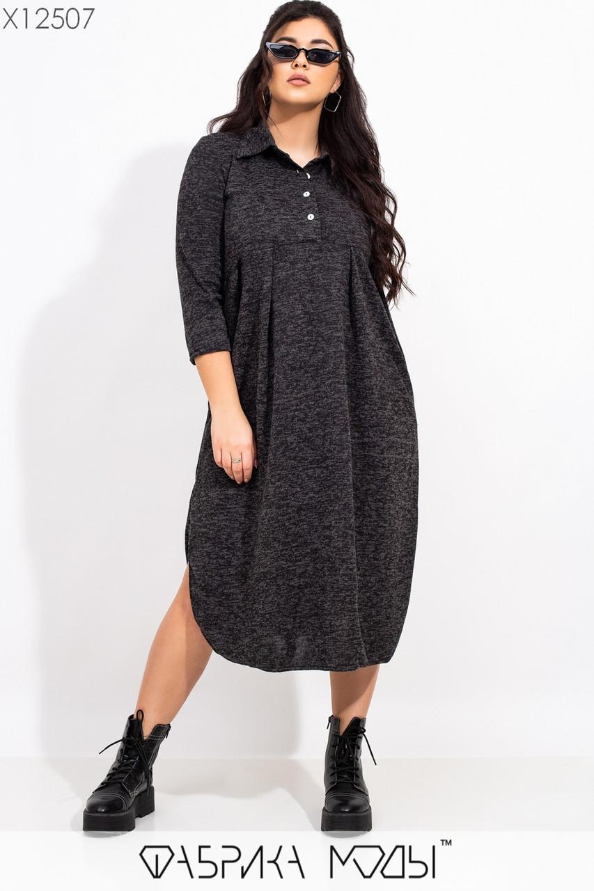 Ангоровое свободное платье большого размера с завышенной талией и рубашечным верхом 115511