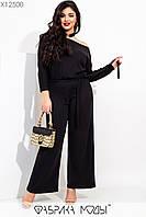 Женский комбинезон большого размера с брюками клеш и глубоким вырезом горловины 115513, фото 1