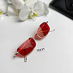 Вузькі сонцезахисні окуляри з червоними лінзами, фото 4