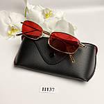 Вузькі сонцезахисні окуляри з червоними лінзами, фото 5