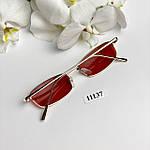 Вузькі сонцезахисні окуляри з червоними лінзами, фото 6