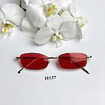 Вузькі сонцезахисні окуляри з червоними лінзами, фото 3