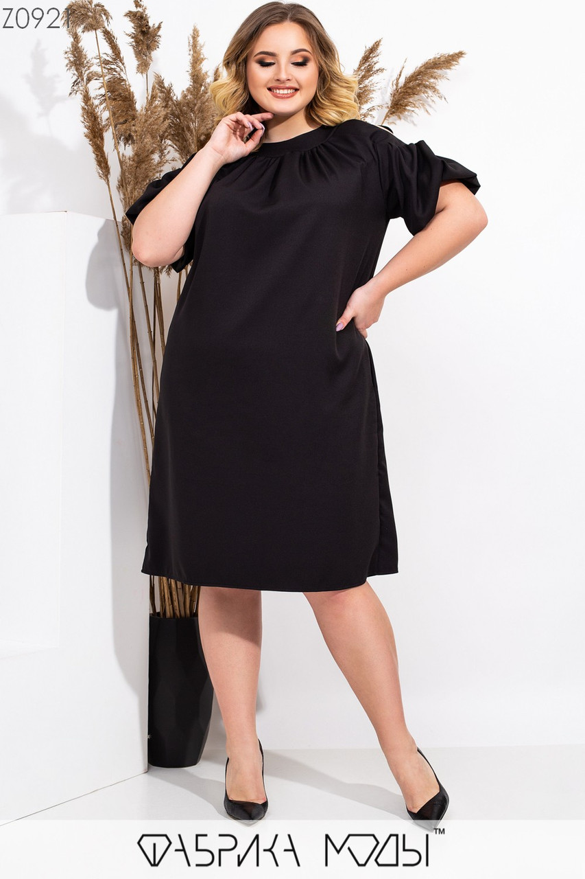 Свободное платье трапеция большого размера с разрезами на плечах 115519