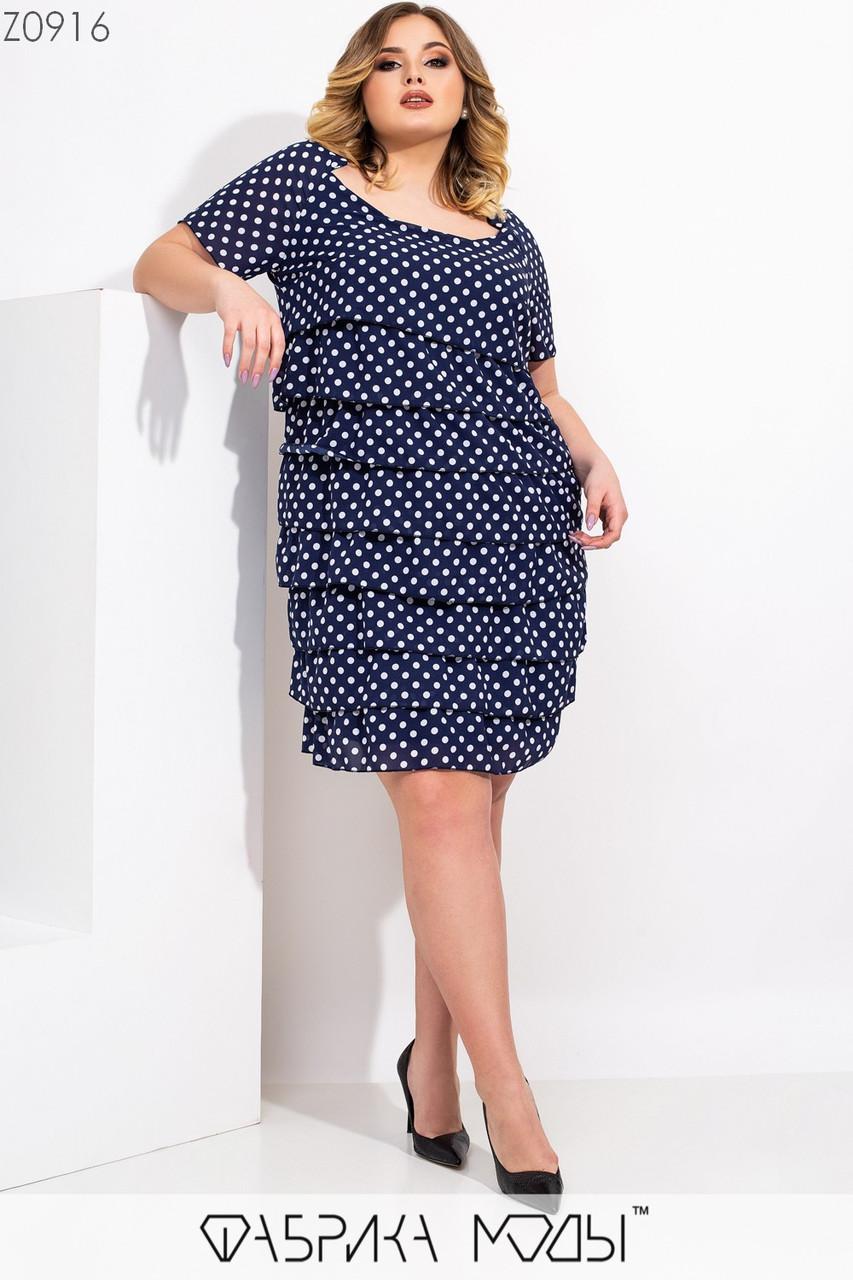 Свободное платье большого размера с рюшами из шифона и коротким рукавом 115520