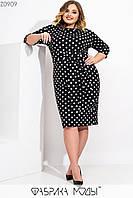 Приталенное платье футляр большого размера из трикотажа в горошек с поясом 115522, фото 1