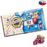 Шоколад белый Studentska(арахис и изюм),  180г,  Чехия